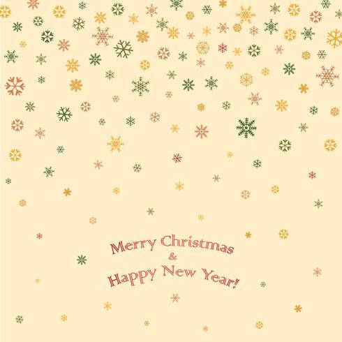 Diseño de tarjeta de felicitación de Navidad feliz. Fondo de nieve de vacaciones de invierno