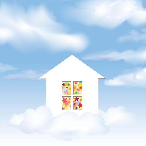 Feest huis. Droom concept. Blauwe lucht met wolken