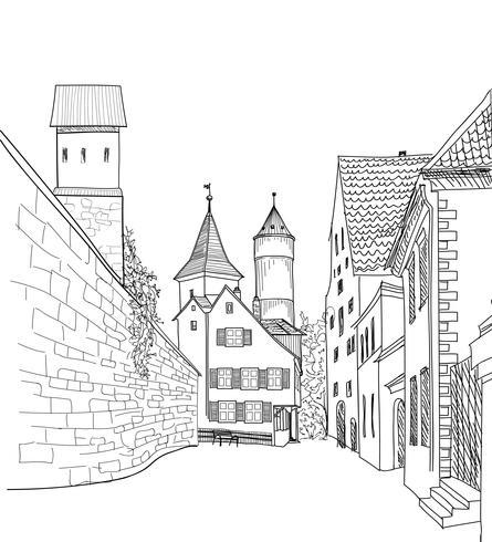 Street view nella città vecchia. Paesaggio urbano medievale - case, edifici