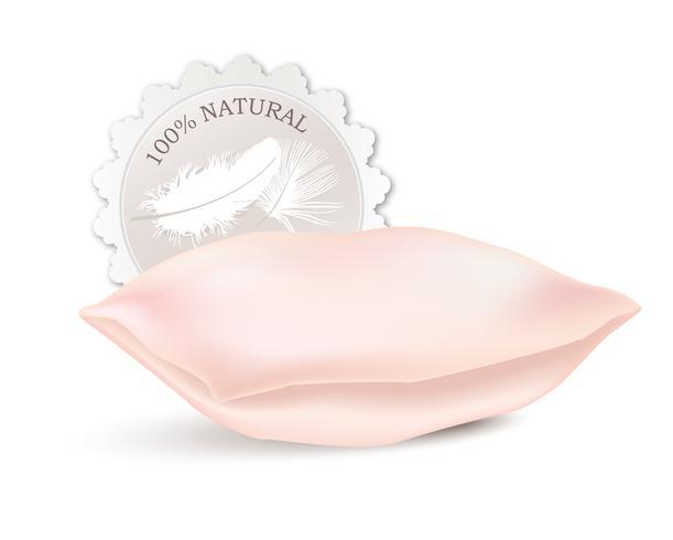 Almofada rosa isolada. Sinal de penas naturais. Rótulo do produto. vetor