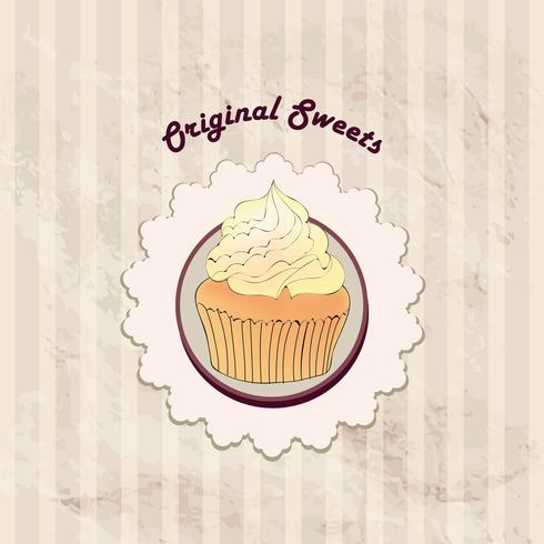 Pastel. Fondo del menú del café. Etiqueta de la panadería. Dulce, cartel de postre vector