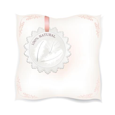Cuscino bianco isolato. Segno di piuma naturale. Etichetta del prodotto vettore