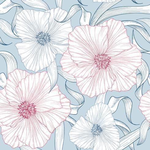 Naadloze bloemmotief. Bloem achtergrond. Bloei lentetuin vector