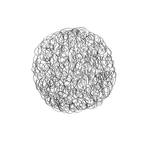 Elemento de design de logotipo de vetor de círculo. Nuvem de rabisco de linha caótica