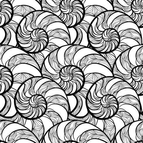 Resumen espiral de patrones sin fisuras. Onda nautilus fondo marino vector