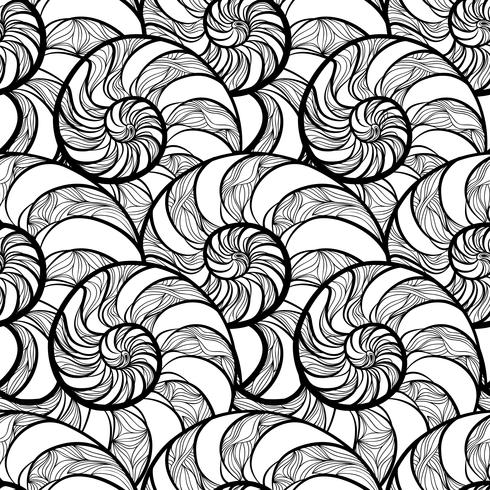 Abstract spiral seamless pattern. Wave nautilus marine background