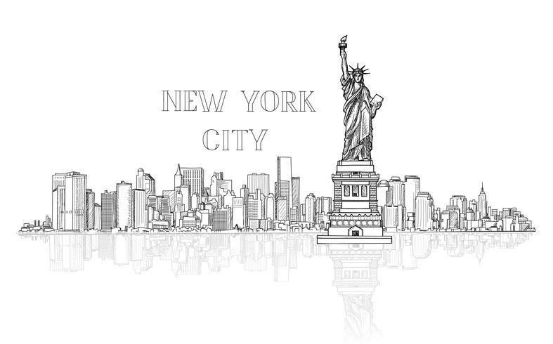 De horizonachtergrond van New York, de VS Stad silhouet graveren weergave vector