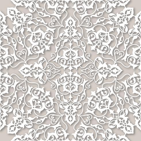 Arabic floral swirl line ornament. Oriental flower seamless pattern
