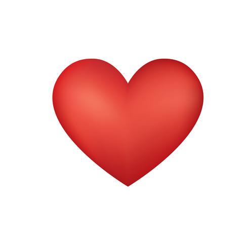 Corazón rojo de la tarjeta del día de San Valentín aislado sobre el fondo blanco. Vector