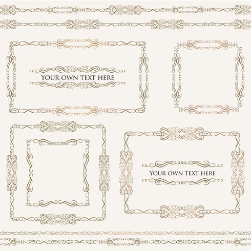 Calligraphic floral frames. Page decor vignette borders, dividers set vector
