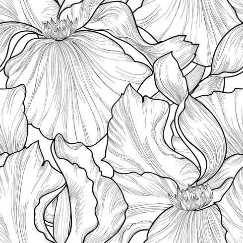 Patrón floral sin fisuras Flor de fondo de grabado del iris. vector