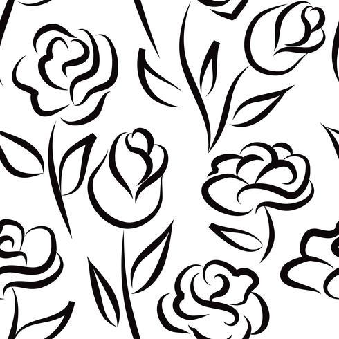 Nahtlose Blümchenmuster Blumen Hintergrund Gravierte Textur vektor