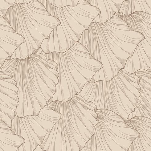 Patrón floral sin fisuras de pétalos de flores grabadas. Flourish azulejos de fondo suave vector