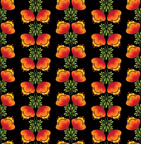 Swirl floral seamless pattern. Ornamental background in russian style. vector