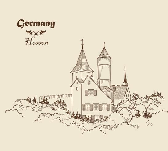 Medeltida slott landskap. Forntida slott torn byggnad silhuett