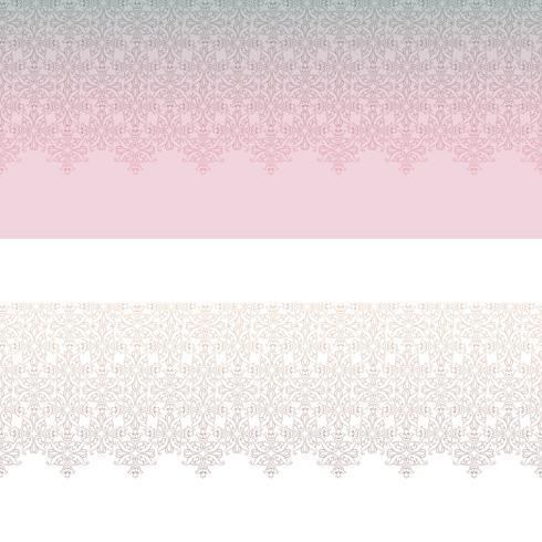 Conjunto de padrão sem emenda de linha laçado. Ornamento floral abstrato. Borda de tecido