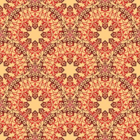 Ornamento de la línea floral árabe remolino. Modelo inconsútil de la flor oriental vector