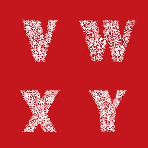 Conjunto del alfabeto Navidad invierno vacaciones decoración letras latinas caracteres vector