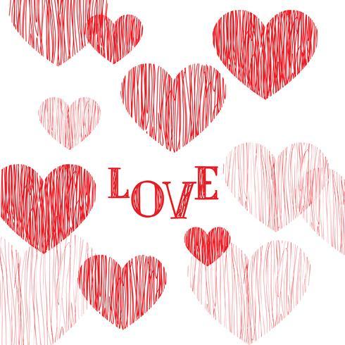 Carte de voeux Happy Valentines Day. Fond de coeur d'amour