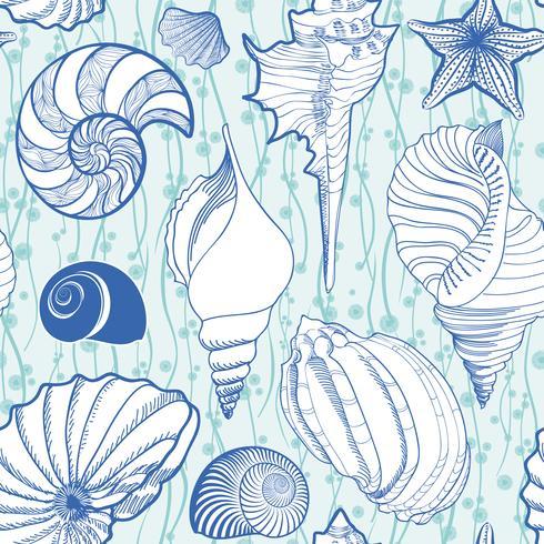 Seashell seamless pattern. Summer holiday marine background vector