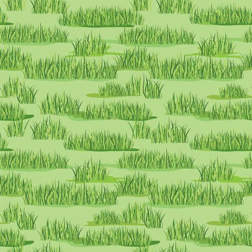 Bloemen naadloos patroon met gras. Weide tegel achtergrond
