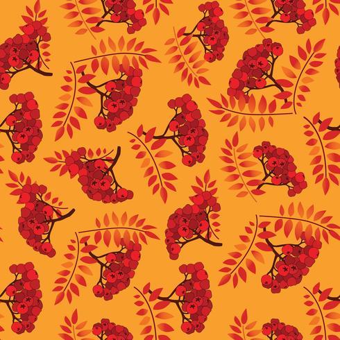 Val naadloos patroon. De achtergrond van de herfstbladeren, de tak van de lijsterbes