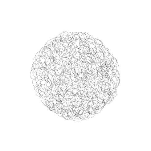 Élément de conception de logo vectoriel cercle. Ligne chaotique gribouiller nuage