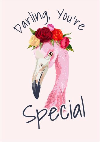 slogan com ilustração de coroa flamingo e floral