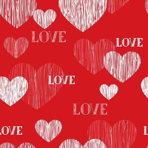 Modelo inconsútil del corazón del amor. Fondo feliz día de San Valentín vector