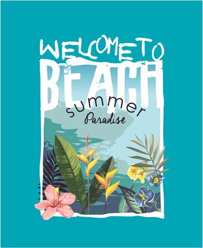 Lema de playa con ilustración de playa y flor tropical vector