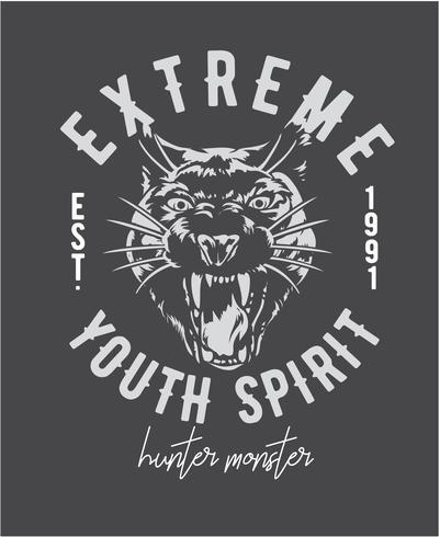 extrem slogan med pantherhuvud grafisk illustration