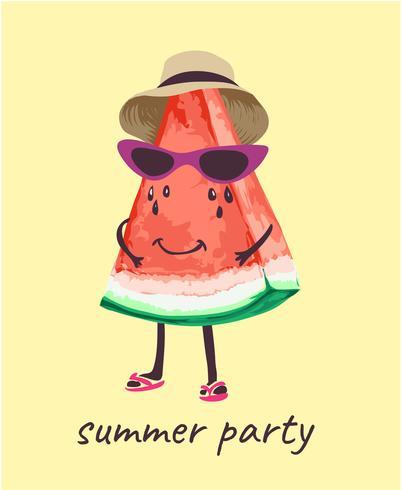 3e8d08f47aab watermelon in summer costume cartoon illustration - Download Free ...