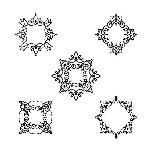 Conjunto de motivos florales línea ornamental. Adorno árabe flor marco vector