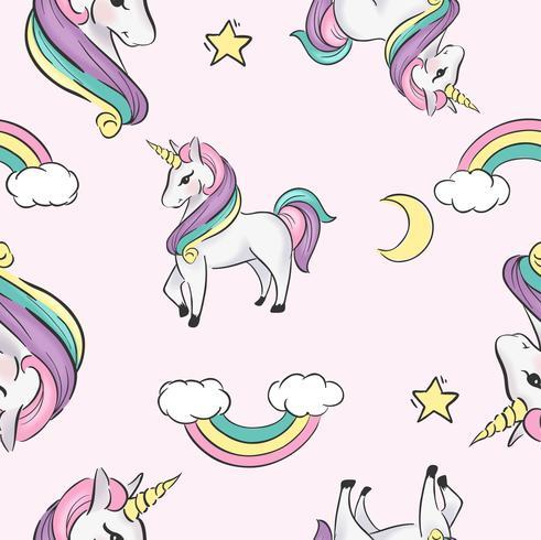 unicornio dibujos animados ilustración de patrones sin fisuras