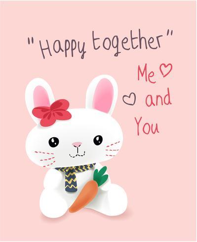 glücklicher Slogan mit netter Karikaturkaninchen- und Karottenillustration