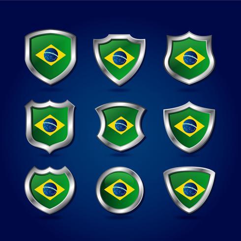 Vector de bandera de escudo de Brasil