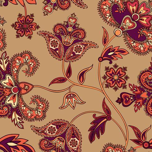 Aziatische naadloze patroon. Florale achtergrond. Wonderland bloemen