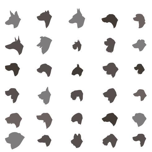 Hond hoofd silhouet pictogramserie Verschillende dos ras teken vector