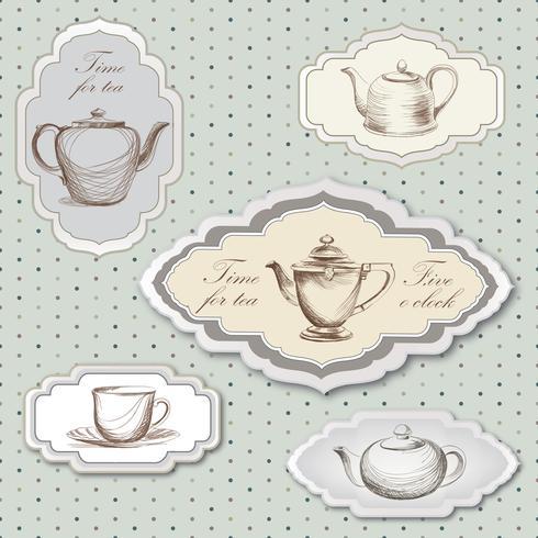 Te kopp, kruka, vattenkokare retro kort. Te tid vintage etikett uppsättning. Varma drycker
