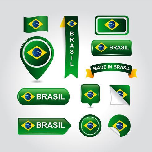 Set van Brazilië Element vlag Vector