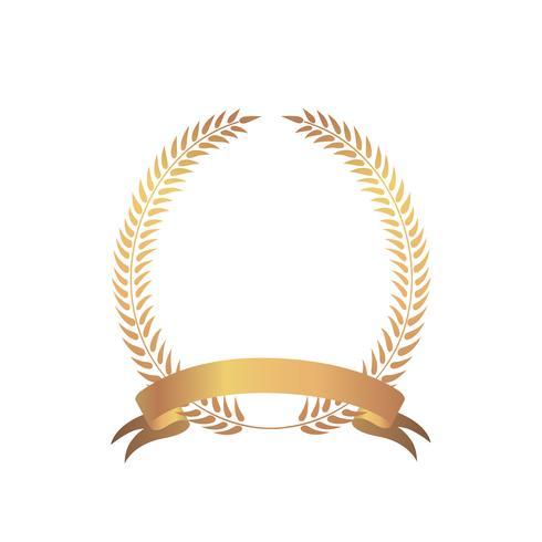 Premio de marco de oro. Signo ganador. Corona de laurel con lazo. vector