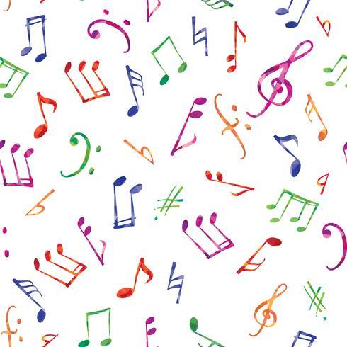 Patrón de la música Notas de música y signos de fondo sin fisuras