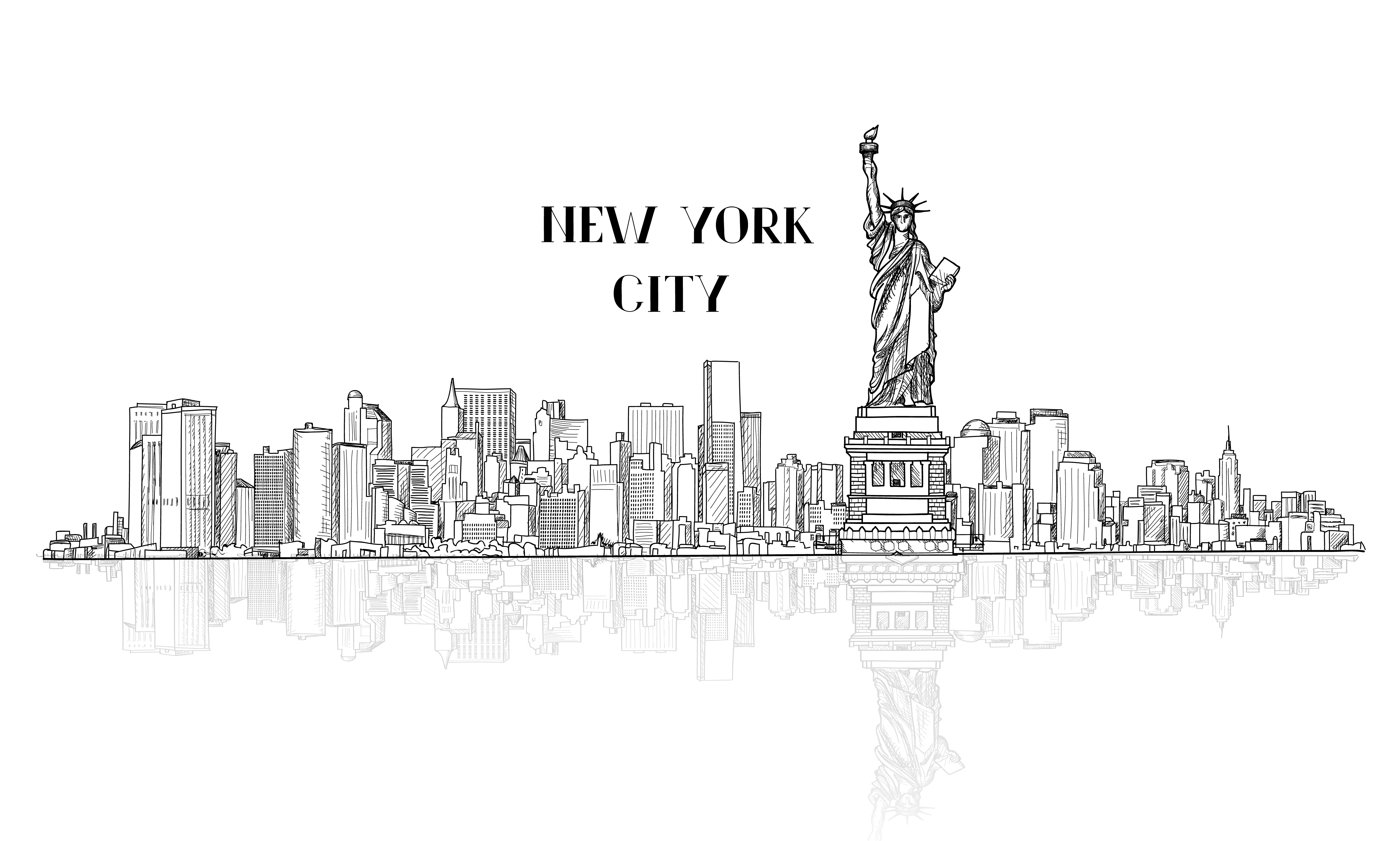new york usa skyline city silhouette with liberty