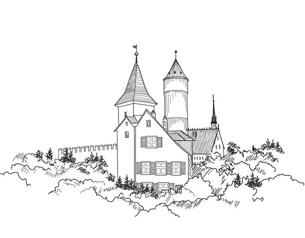 Paisagem do castelo medieval. Skyline de edifício de torre de castelo antigo