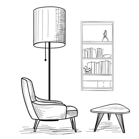 Salon. Lecture de mobilier d'intérieur: fauteuil, table, étagère.
