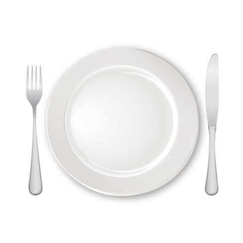 Table setting set. Fork, Knife, Spoon, Plate. Cutlery service sign