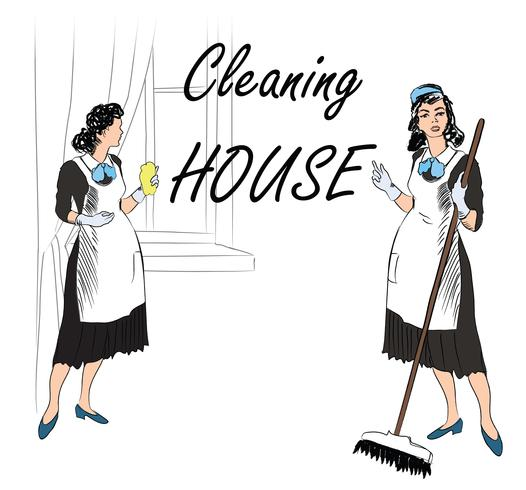 Cleaning service. Women, cleaning room. maids service