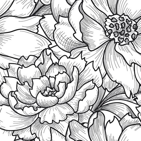 Blommigt sömlöst mönster. Blomma bakgrund. Graverad konsistens