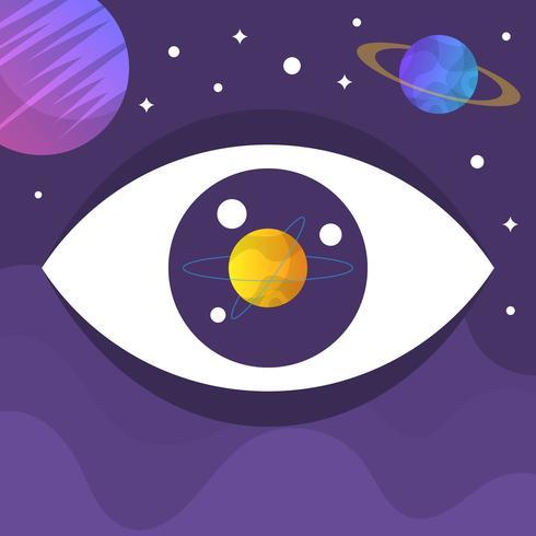 Ojo plano galaxia ilustración vectorial