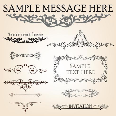 Calligraphic flourish design elements. Page decoration doodle vignette set